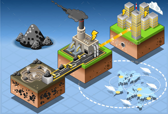 Isometric Infographic Carbon Energy Harvesting - Buildings Objects