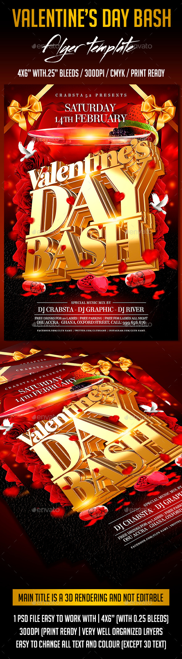 Valentine's Day Bash Flyer Template  - Flyers Print Templates