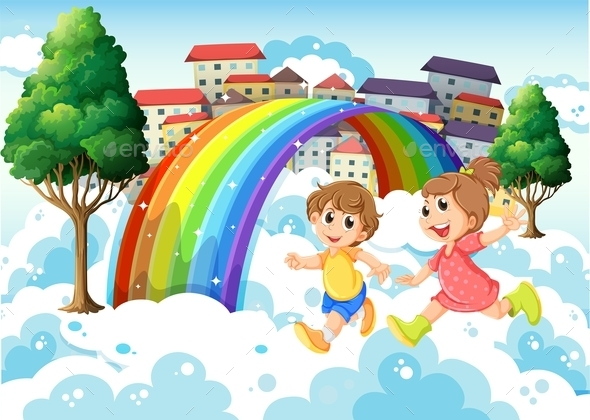 Kids Playing Near the Rainbow - People Characters