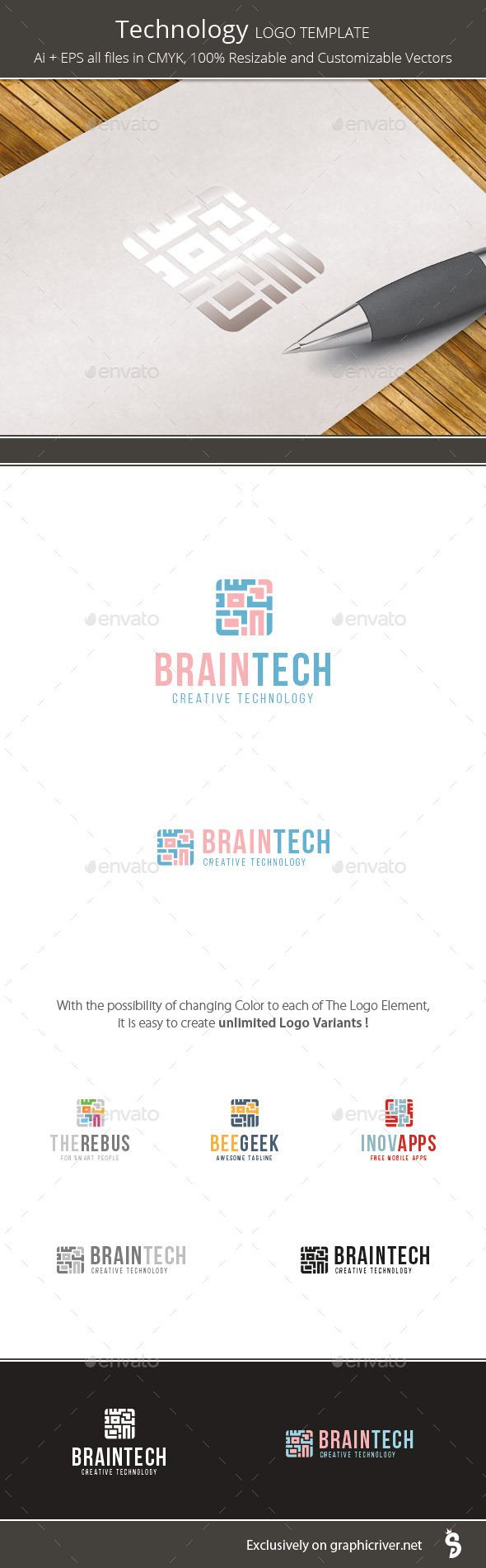 Technology App - Logo Template - Vector Abstract
