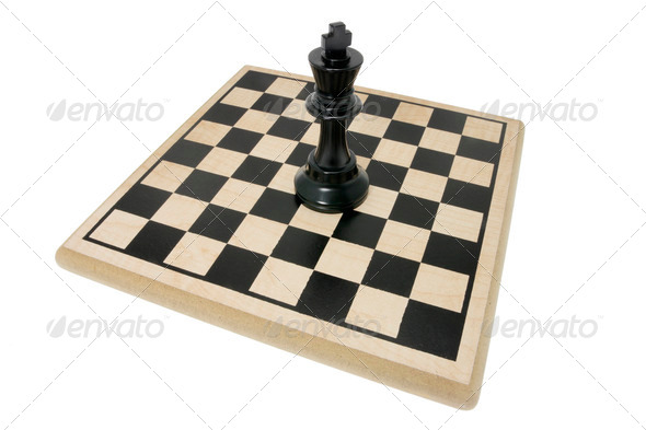 King Chess Piece on Chess Board - Stock Photo - Images