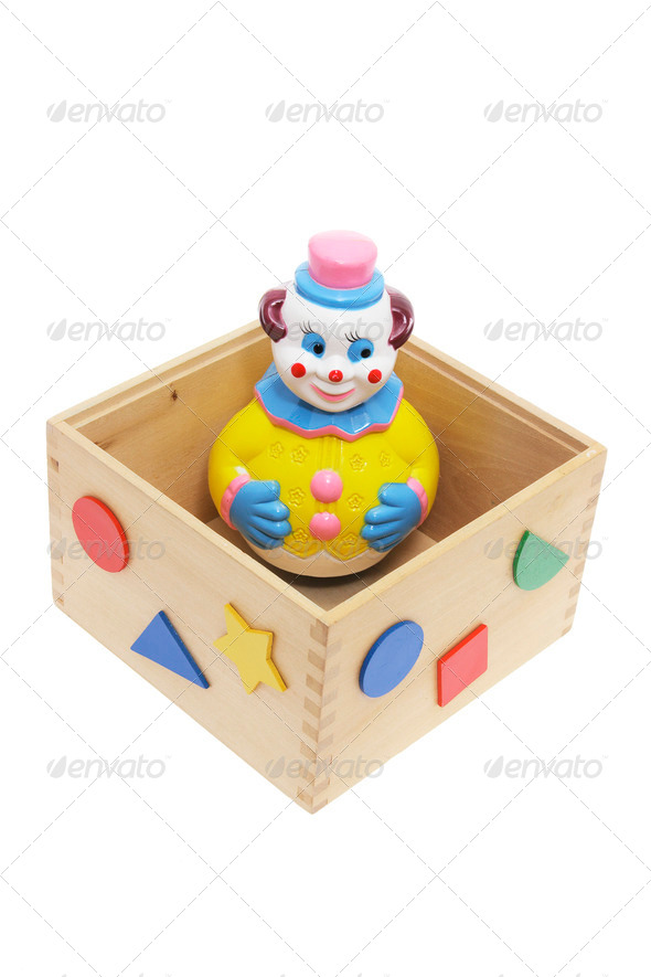 Toy Clown in Wooden Box - Stock Photo - Images