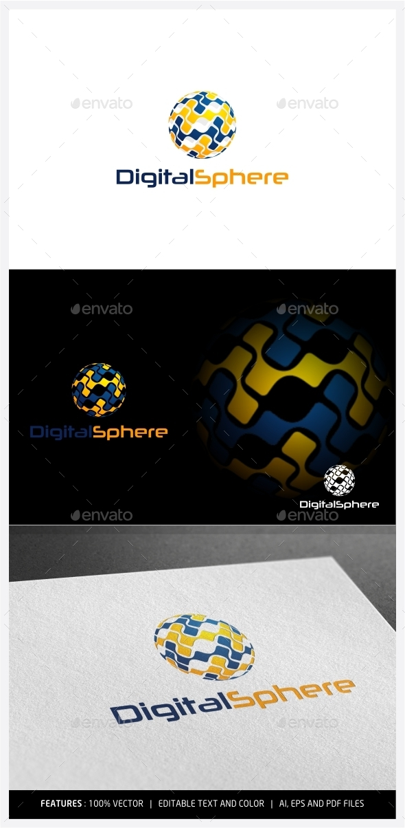 Digital Sphere Logo - 3d Abstract