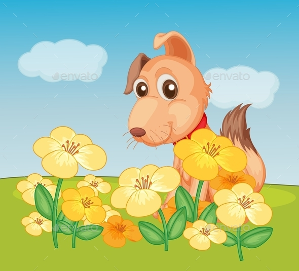Dog and Flowers - Animals Characters