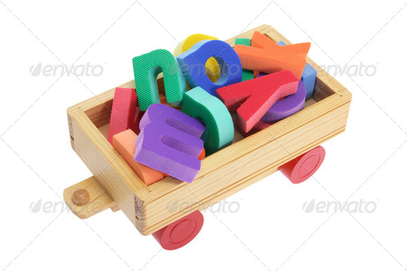 Alphabets on Wooden Toy Cart - Stock Photo - Images