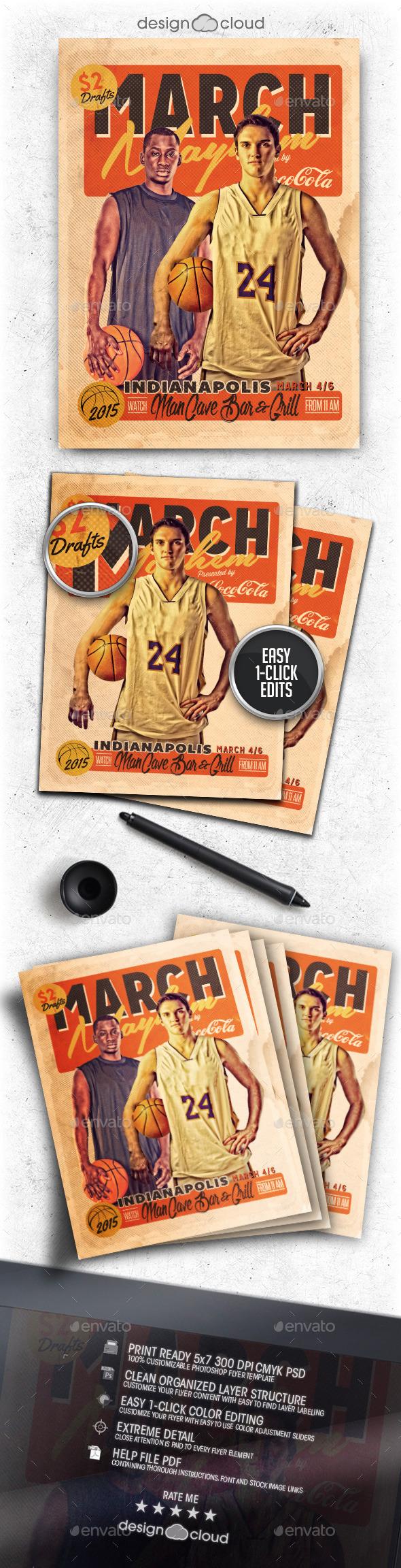March Mayhem Retro Basketball Flyer Template - Sports Events