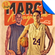 March Mayhem Retro Basketball Flyer Template