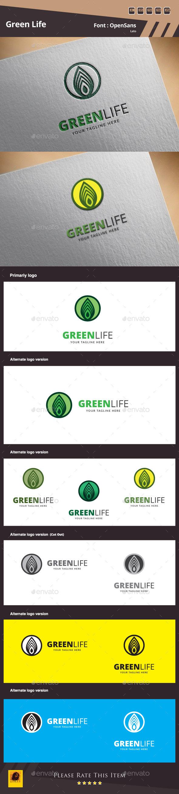 Green Life Logo Template - Nature Logo Templates