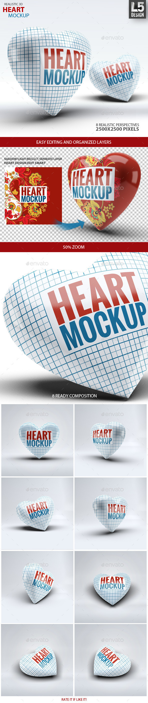 Heart Mock-Up - Miscellaneous Product Mock-Ups