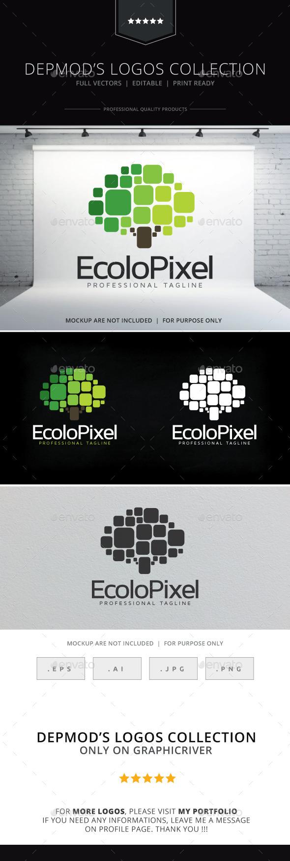 Ecolo Pixel Logo - Nature Logo Templates