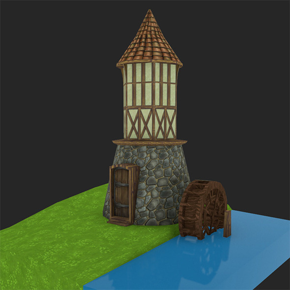 Medieval watermill - 3DOcean Item for Sale