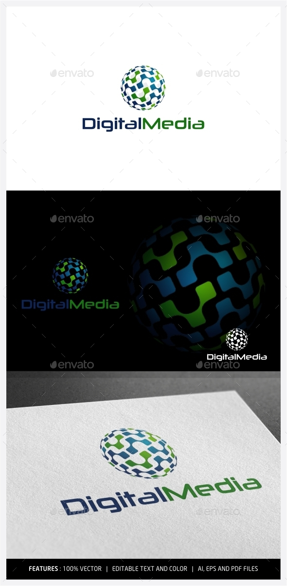 Digital Media Logo - Vector Abstract