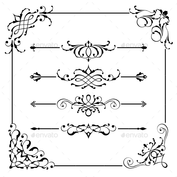 Vintage Vector Frame Border Divider Corner - Borders Decorative