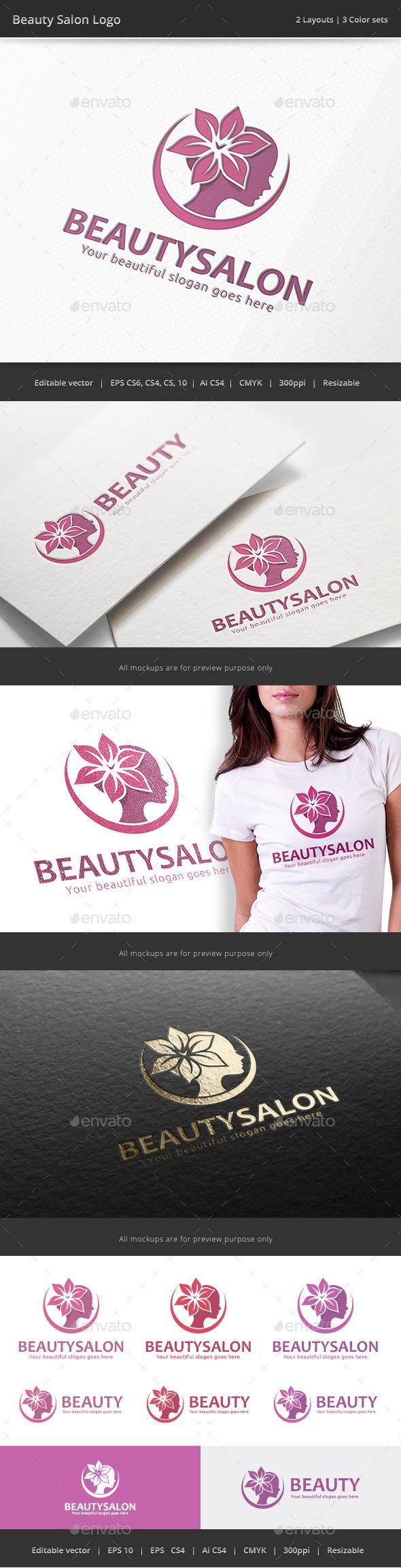 Beauty Salon Woman Logo - Humans Logo Templates
