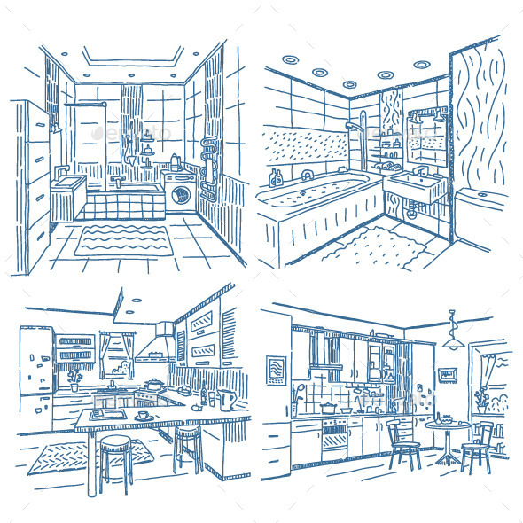 Bathroom and Kitchen Drawings Set  - Backgrounds Decorative