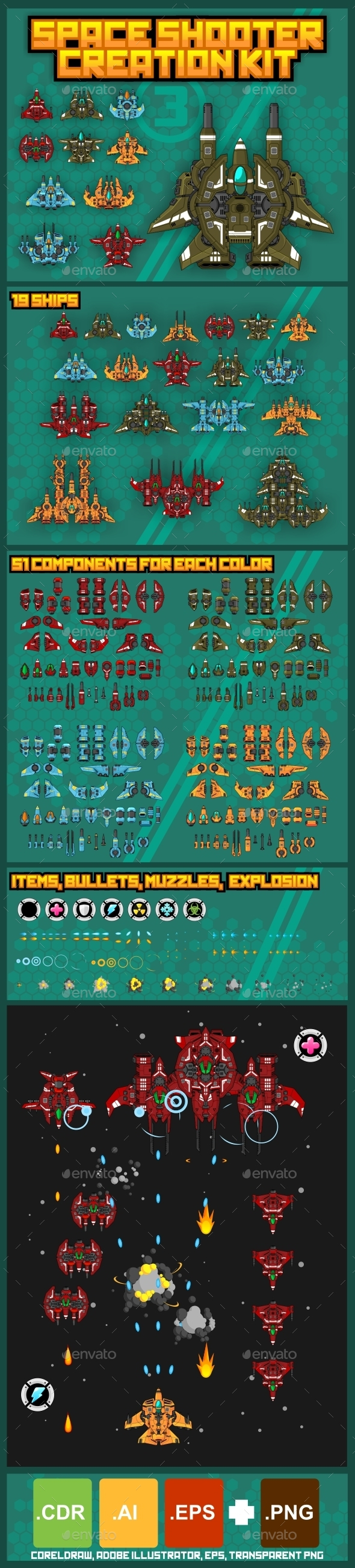 Space Shooter Creation Kit 3 - Sprites Game Assets