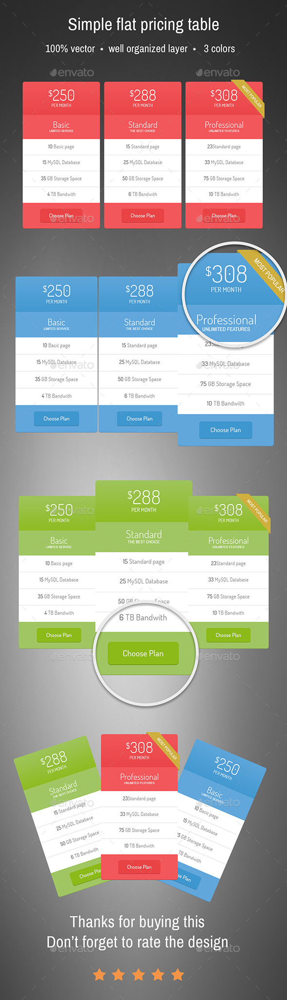 Simple Flat pricing table - Tables Web Elements