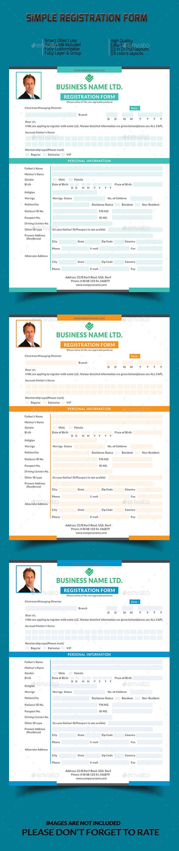 Simple Registration Form  - Miscellaneous Print Templates