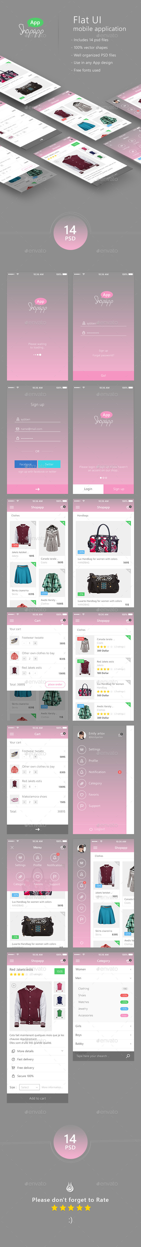 Shopapp - Flat Mobile App UI -  Shopping - User Interfaces Web Elements