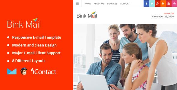Bink Mail- Responsive E-mail Template + Themebuilder Access - Email Templates Marketing