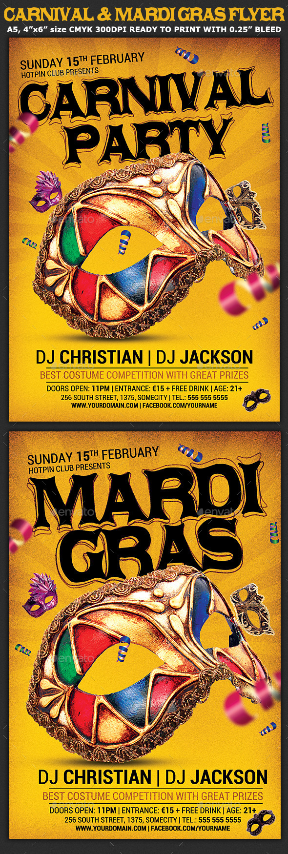 Carnival n Mardi Gras Party Flyer v4 - Clubs & Parties Events