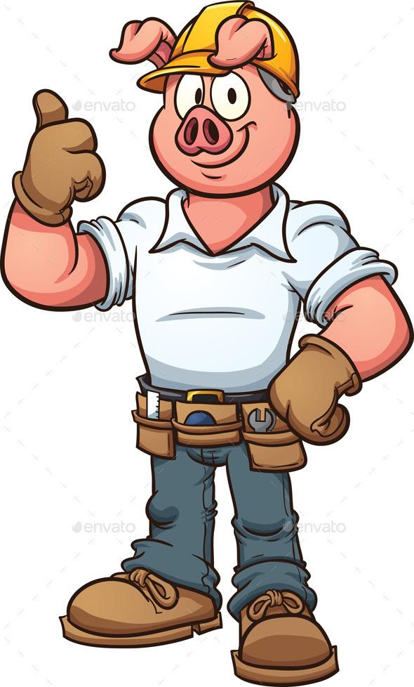 Construction Worker Pig - Characters Vectors
