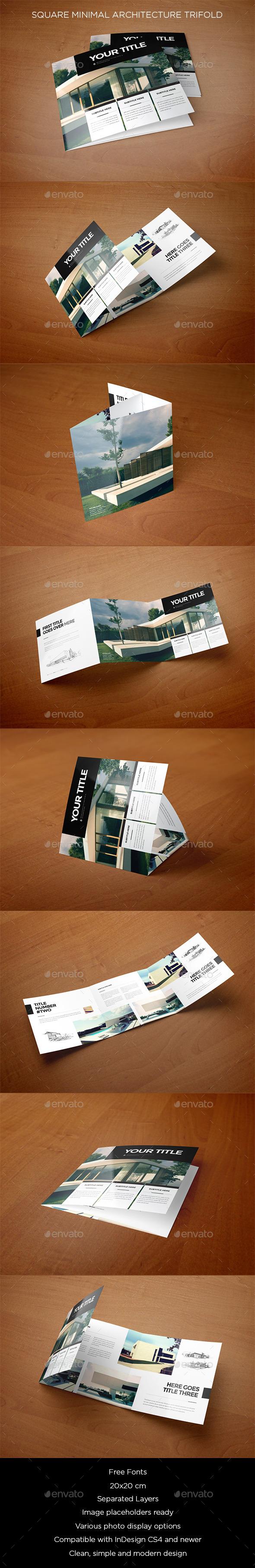 Square Minimal Architecture Trifold - Brochures Print Templates