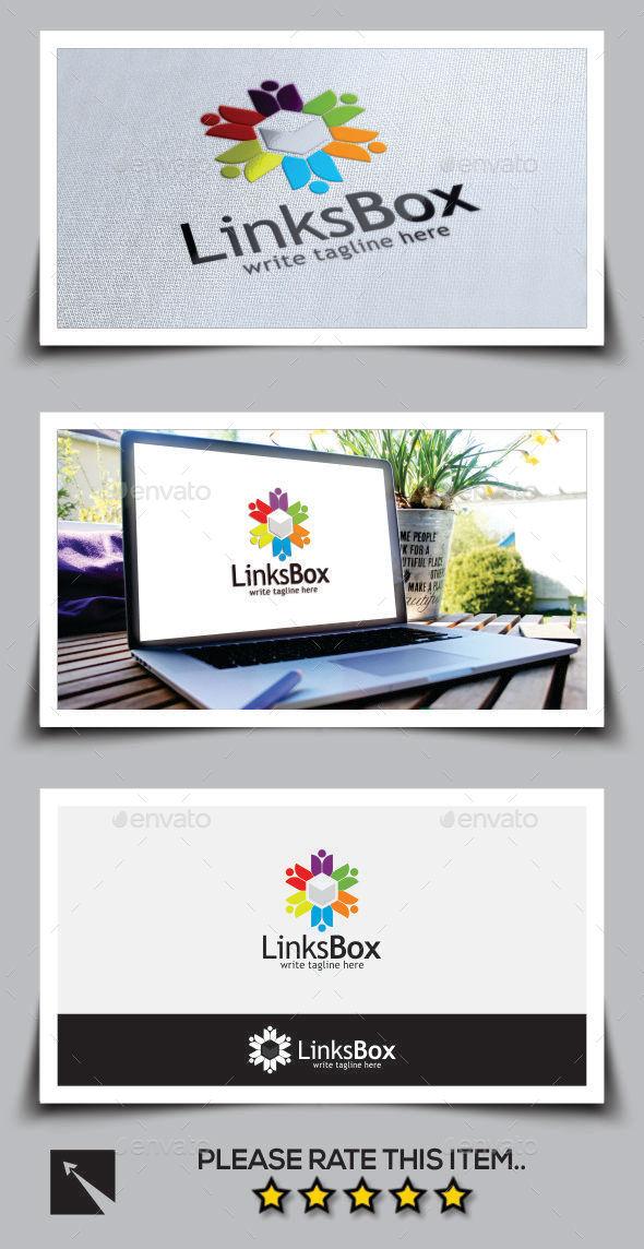 Social Links Box Logo Template - Humans Logo Templates