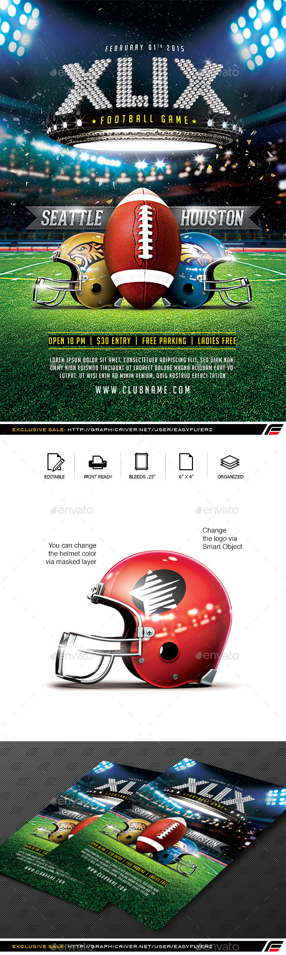 XLIX Football Game Flyer Template - Sports Events