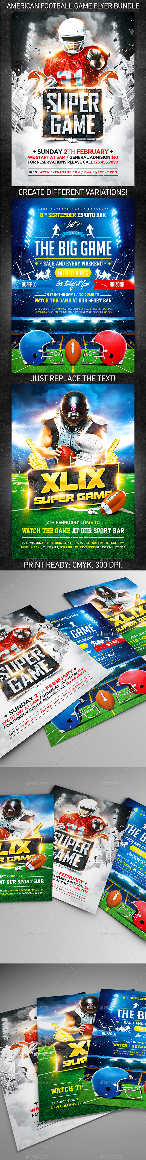 American Football Game Flyer Bundle - Flyers Print Templates