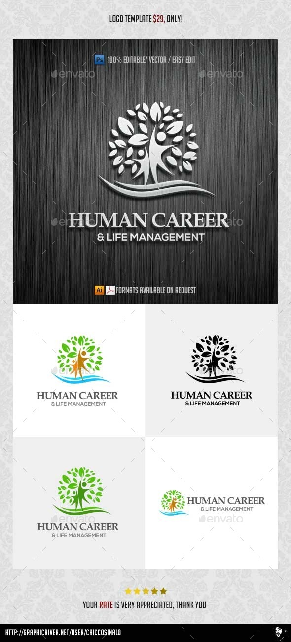 Human Career Logo Template - Abstract Logo Templates