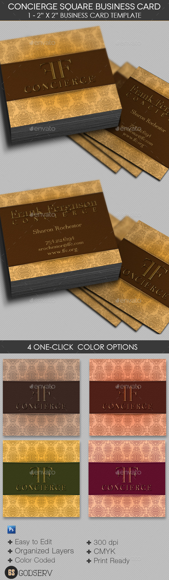 Concierge Square Business Card Template - Industry Specific Business Cards