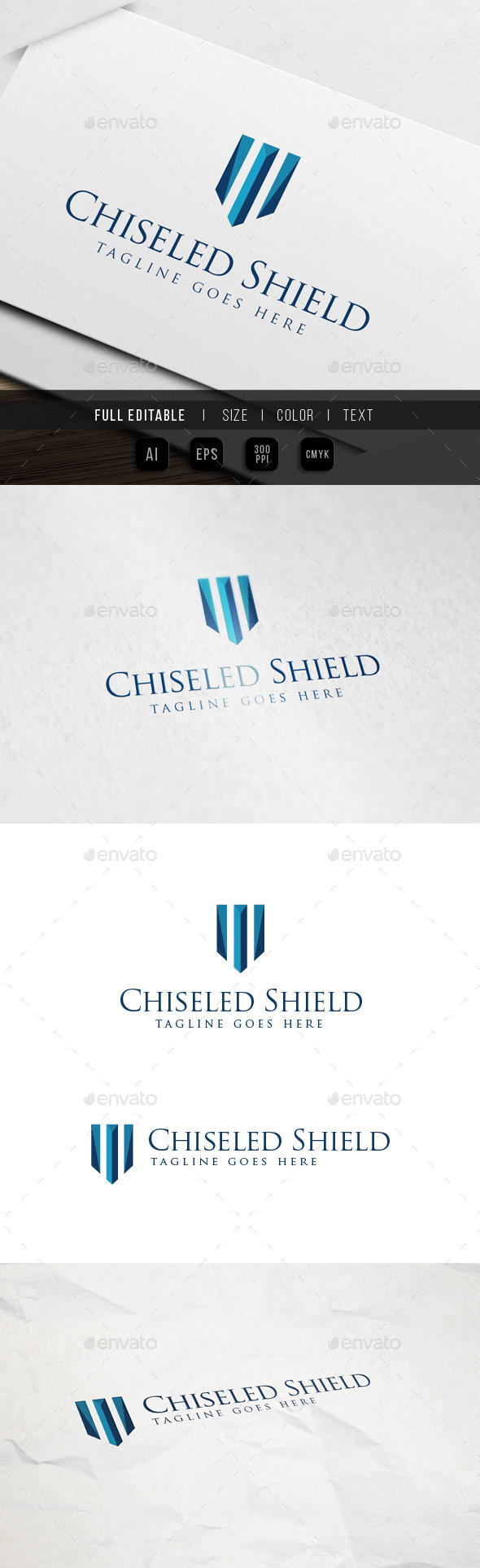 Gem Chiseled Shield Logo - Abstract Logo Templates