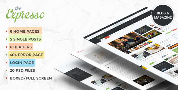Expresso - A Modern Magazine and Blog PSD Template