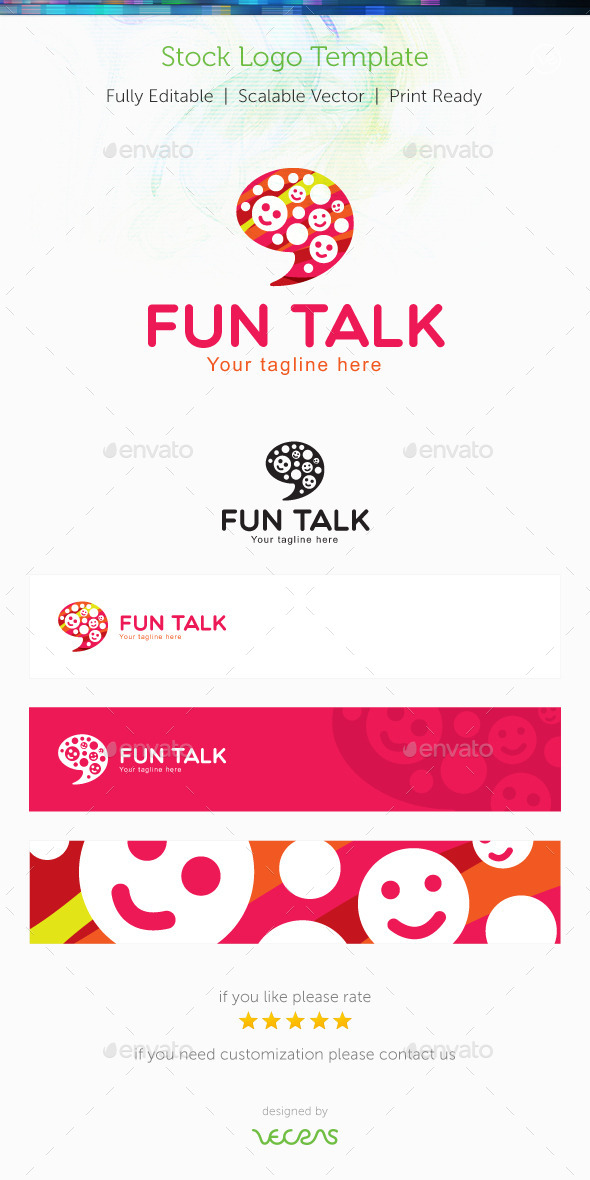 Fun Talk Stock Logo Template - Humans Logo Templates