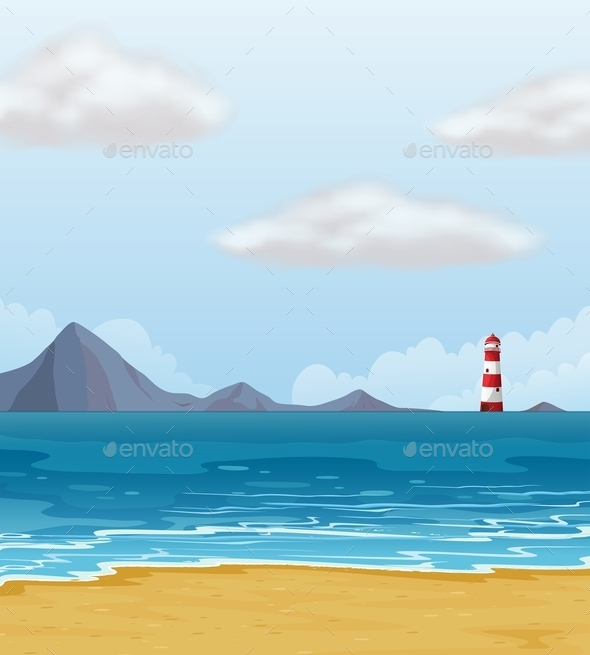 Light House and a Beach - Landscapes Nature