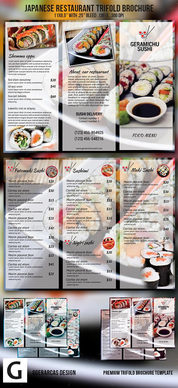 Japanese Restaurant Trifold Brochure - Food Menus Print Templates
