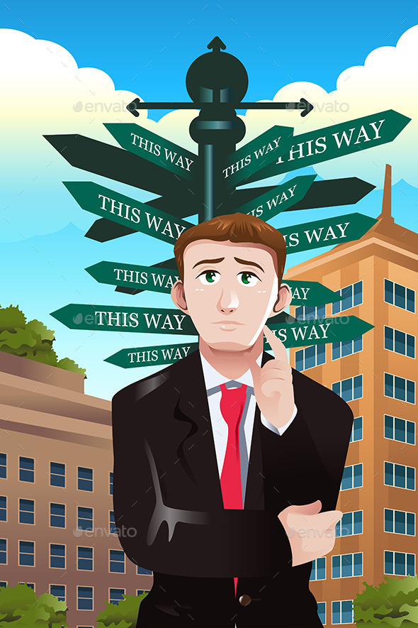 Confused Businessman Under a Street Sign - Concepts Business