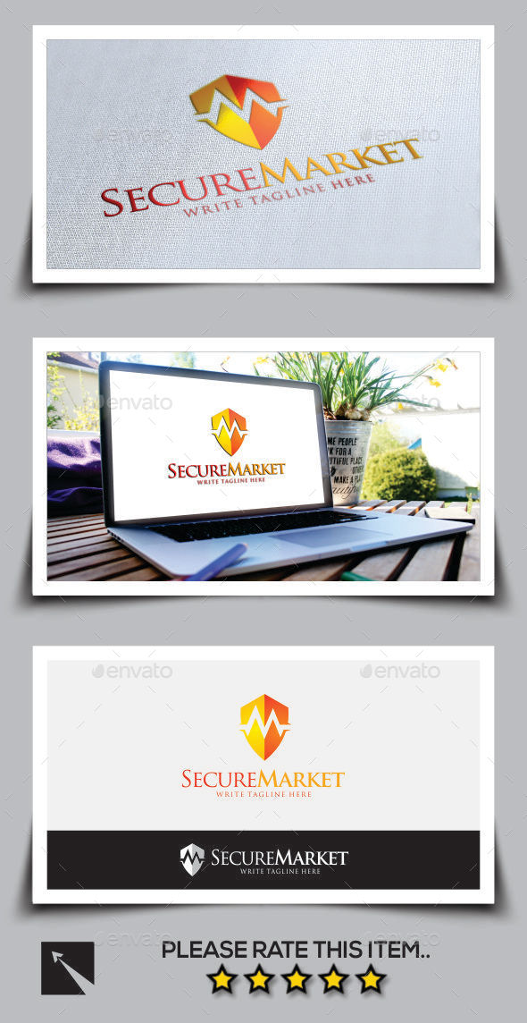Secure Market Letter M Logo Template - Letters Logo Templates