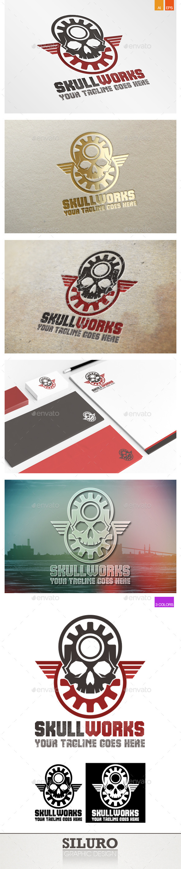 Skull Works Logo - Objects Logo Templates