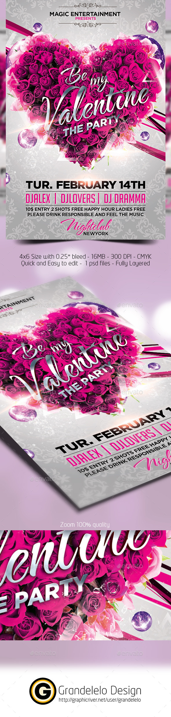Be My Valentine Flyer Template - Clubs & Parties Events