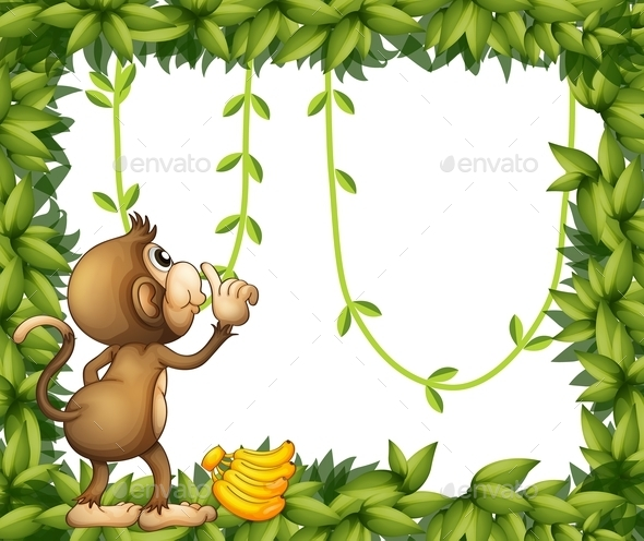 Monkey with Banana and a Green Frame - Animals Characters
