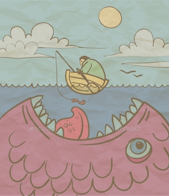 Fisherman and a Huge Fish in the Sea - Miscellaneous Characters