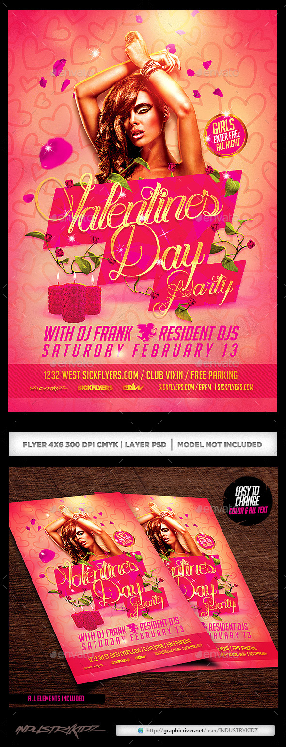 Valentines Day Party Flyer PSD - Holidays Events