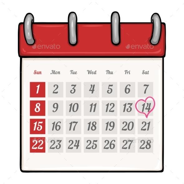 Cartoon Loose-Leaf Calendar  - Valentines Seasons/Holidays