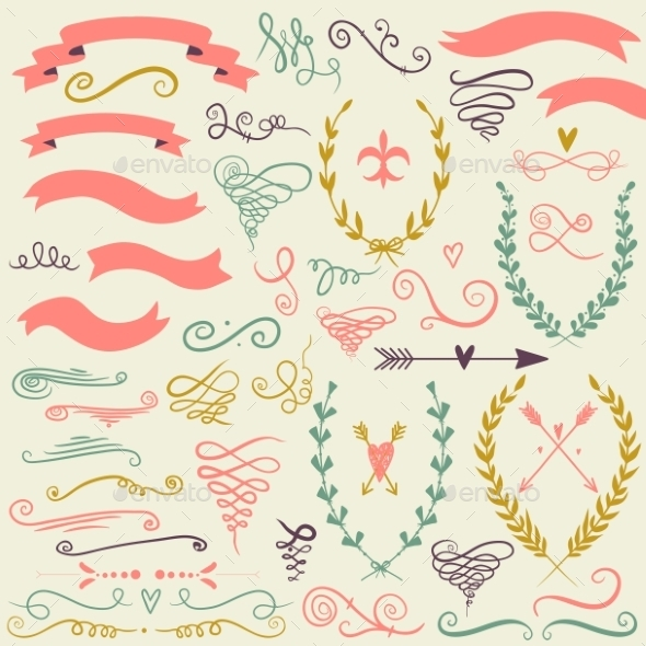Set of Graphic Design Elements - Decorative Symbols Decorative