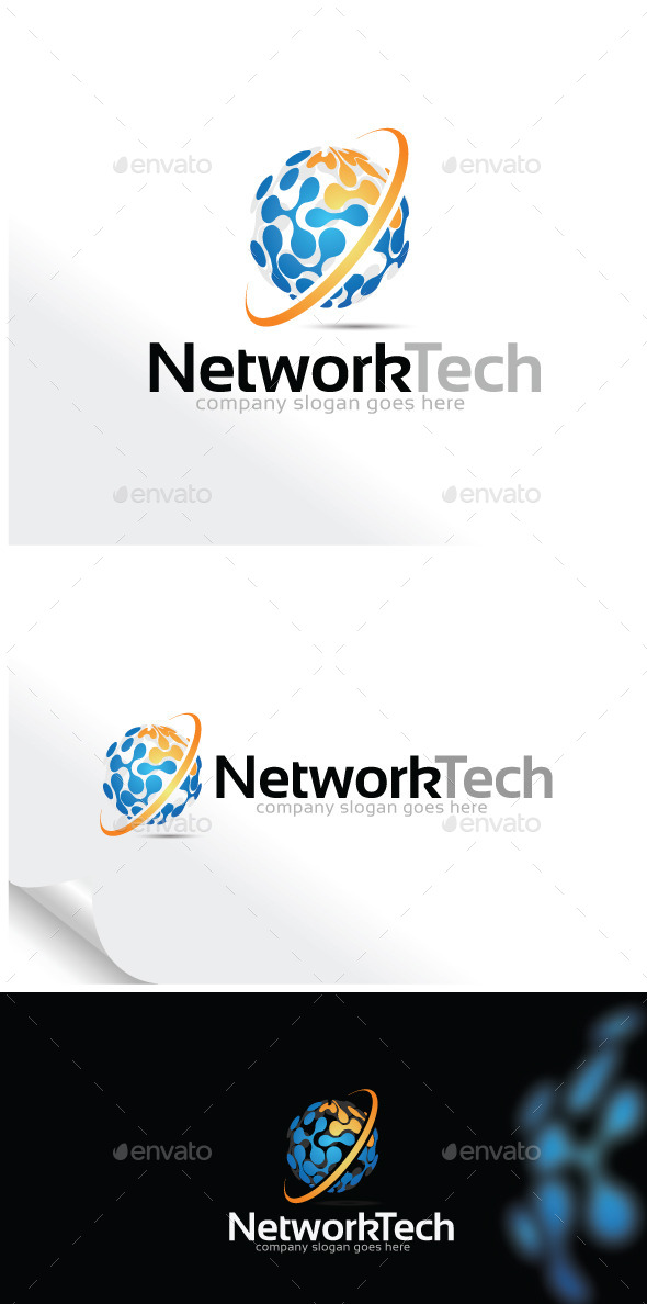 Network Technology  Logo Template - Vector Abstract