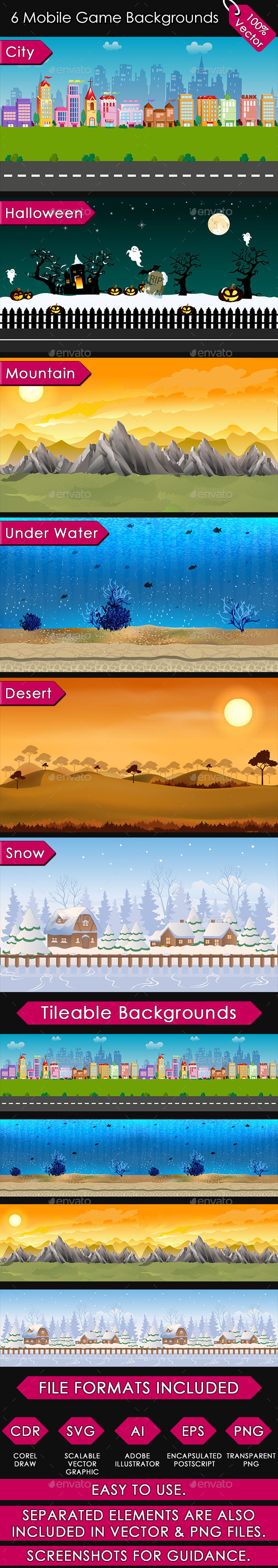6 Mobile Game Backgrounds - User Interfaces Game Assets