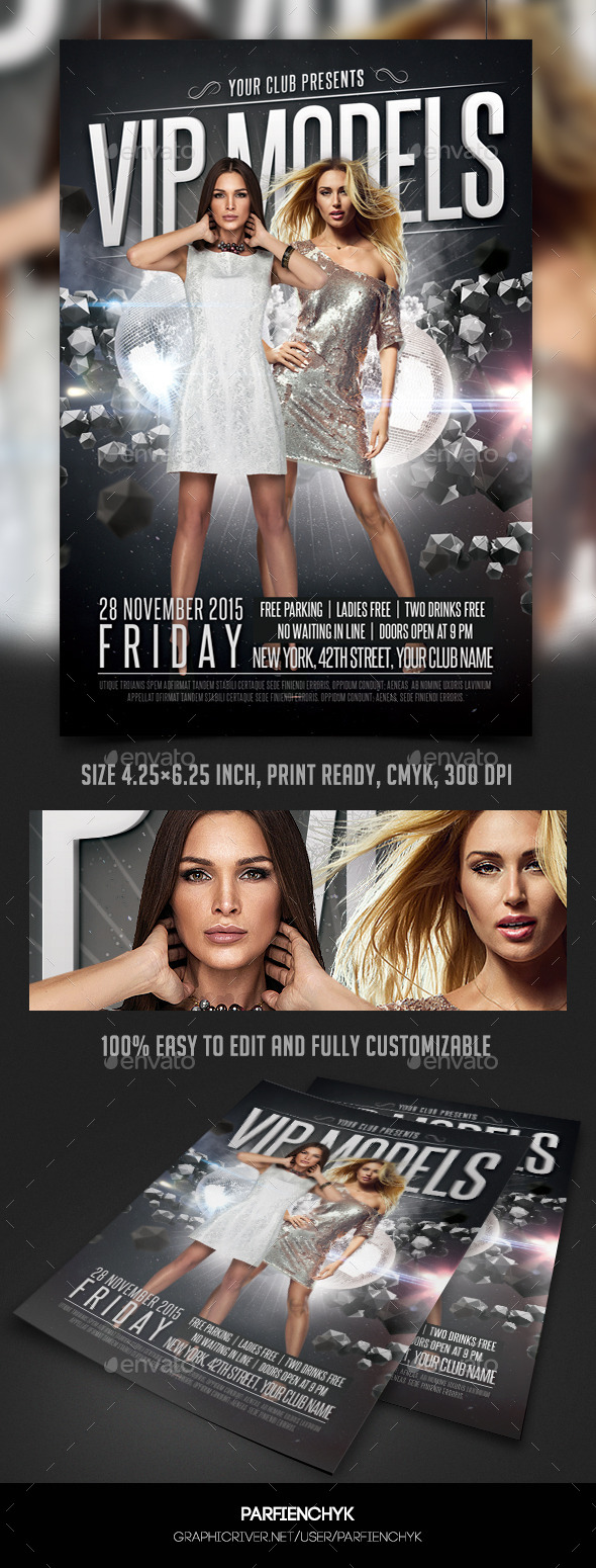 VIP Models Party Flyer Template - Clubs & Parties Events