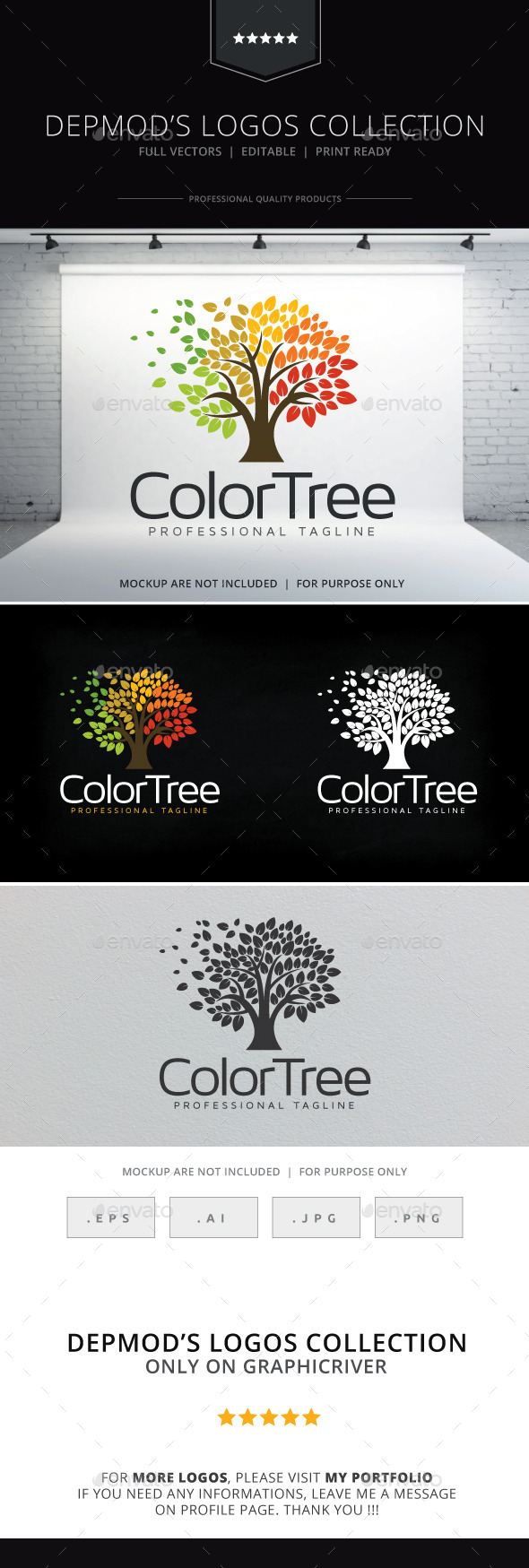 Color Tree Logo - Nature Logo Templates